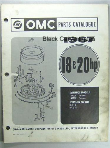 1967 OMC Parts Catalog 18, 20HP Evinrude Fastwin 18702R, 18703R Johnson FD-21R, FDL-21R Used