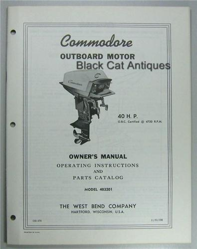 Original 1961 West Bend Outboard Owner Parts Manual 40 Hp