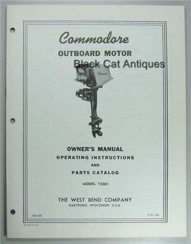 Original 1961 West Bend Outboard Owner Parts Manual 7 5 Hp