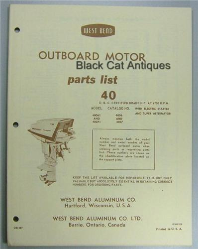Original 1960 West Bend Outboard Motor Parts List 40 Hp