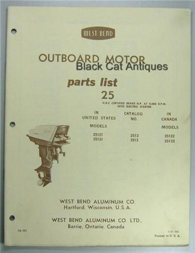 1961 West Bend Outboard Parts List 25hp Model 25121 25131