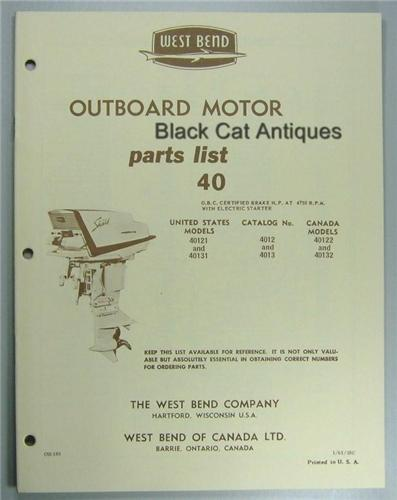 1961 West Bend Outboard Parts List 40 Hp Model 40121