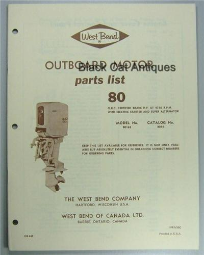 Vintage 1961 West Bend Outboard Parts List 80 Hp Electric