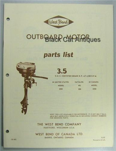 1962 West Bend Outboard Motor Parts List 3 5 Hp Model 2201