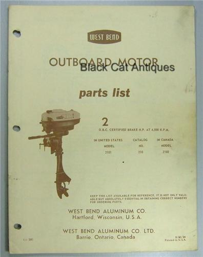 1960 West Bend Outboard Parts List 2 Hp Model 2101 Usa