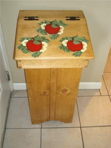 Handpainted Wooden Trash Bin APPLE Design