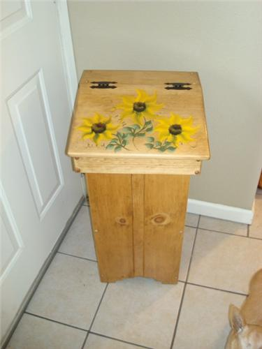 New Wooden Handpainted Kitchen Trash Bin Sunflower Design
