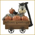 blossom bucket autumn greetings cat in wagon figurine