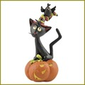 blossom bucket black cat in witches hat with bird figurine