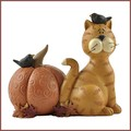 blossom bucket orange cat with crows and pumpkins fall figurine