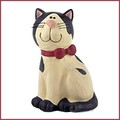 blossom bucket black and white cat in bow tie figurine