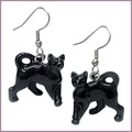 northern rose porcelain little black cat lovers earrings