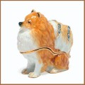 bejeweled enamel pomeranian dog trinket box