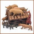 carved wood safari animal set