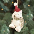 polar bear in Santa's hat christmas ornament