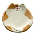 ceramic orange spotted cat dish