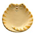 ceramic yellow tiger cat plate