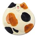 ceramic 5 inch calico cat dish plate spoon rest