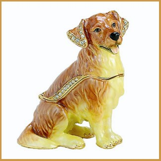 bejeweled enamel Golden Retriever trinket box
