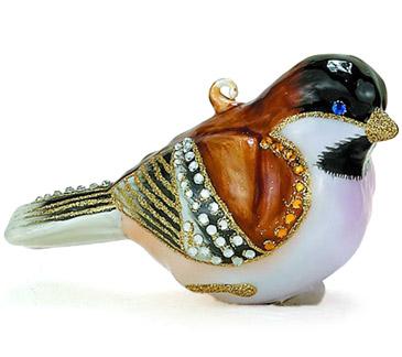 Blown glass bejeweled chickadee bird figurine ornament animal emporium figurines gifts - Chickadee figurine ...