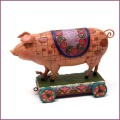 Jim Shore pig on cart figurine