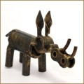 recycled metal rhinoceros figurine