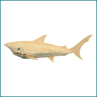 3D wood shark puzzle figurine