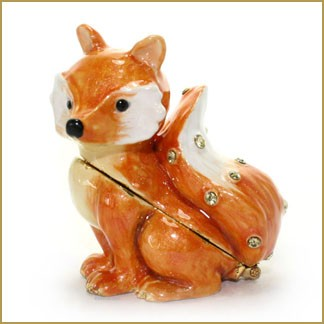 bejeweled red fox trinket box