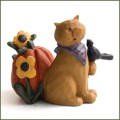blossom bucket cat crow and pumpking figurine