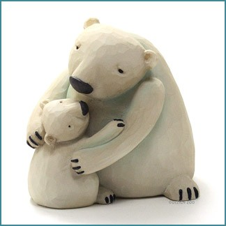 blossom bucket hugging mama polar bear and cub figurine