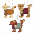 blossom bucket dogs with candy canes ornaments