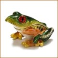 bejeweled enamel mini tree frog  figurine trinket box