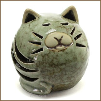 ceramic fat cat figurine sculpture
