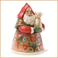 Jim Shore pint sized santa with cat Christmas figurine