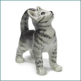 northern rose gray tiger cat figurine