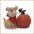 blossom bucket tan dog crow and pumpkin figurine