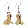 northern rose porcelain puppy in santa hat earrings