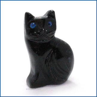 carved onyx black cat figurine
