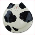ceramic black and white cat dish