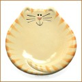 august ceramic yellow tiger cat plate