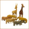 wood safari animal minature figurines