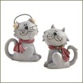 blossom bucket gray cats with red bows figurines