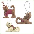blossom bucket cats in scarves ornaments
