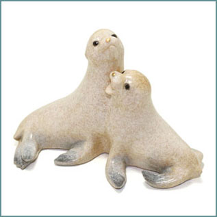 sea lion cubs wildlife figurine