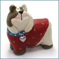 blossom bucket english bulldog with blue collar figurine