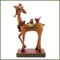 blossom bucket reindeer with green saddle and cardinals figurine