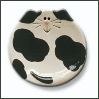 ceramic black and white cat plate