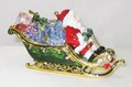 Santa Claus in Sleigh Jeweled Trinket Box Christmas Decor