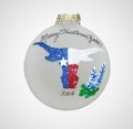 Texas Longhorn Steer w State Flag Colors & Bluebonnets Glass Ornament