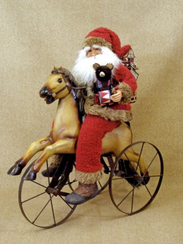 Vintage Santa Claus on Antique Wooden Horse